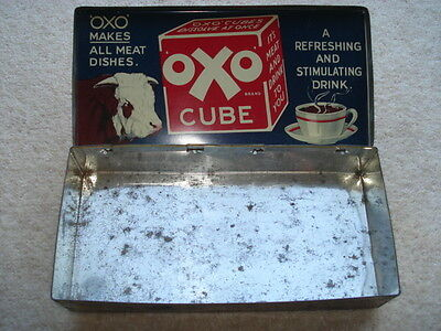 C1920S Vintage Oxo Cubes Large Pictorial Inner Lid Tin