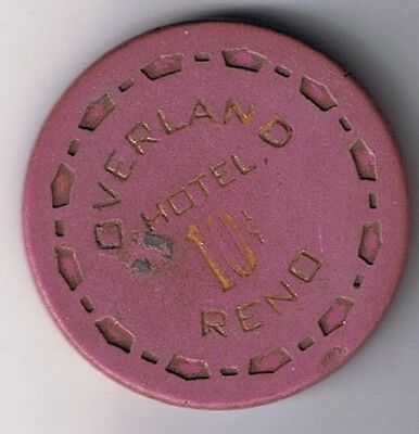 Overland Hotel Fractional 10¢ Purple Small Crown Mold Casino Chip Reno Nevada