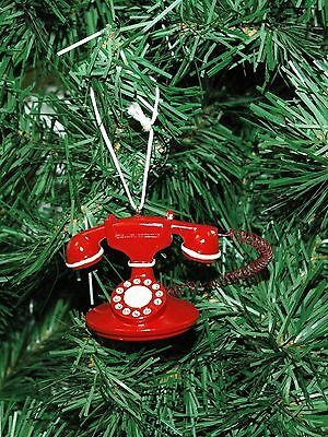 Vintage, Antique Looking Red Telephone Christmas Ornament