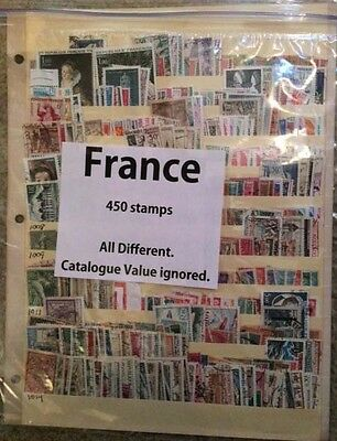 FRANCE 450 All Different Stamps Off Paper