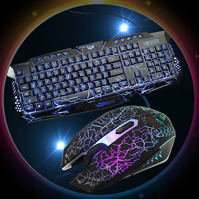 3 Colors LED Backlit Illuminated USB Wired Gaming Keyboard and 3200DPI Mouse Set