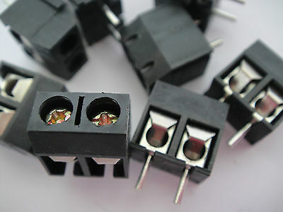 10PC Black 2 Pin Screw Terminal Block Connector 5mm Pitch Panel PCB Mount Solder