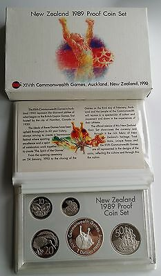 1989 New Zealand Proof Coin Set Commonwealth Games Sterling Silver Dollar