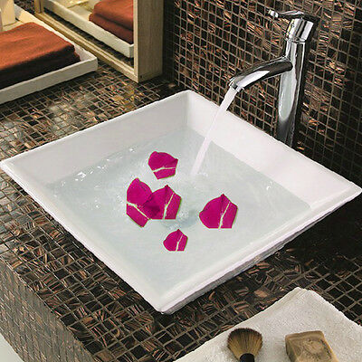 NEW White Square Counter top Basin Sink Ceramic Suit Bathroom Cloakroom