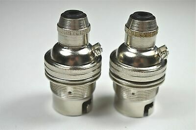 2 Nickel Bayonet Fitting Bulb Holder Cord Grip Lamp Hold Earthed Shade Ring Sr4