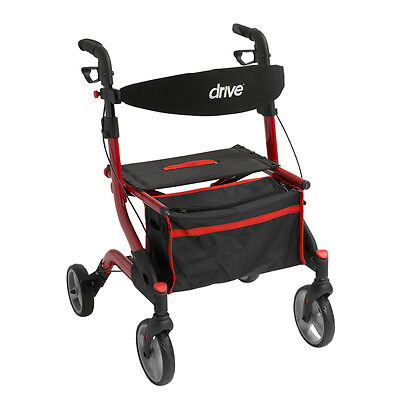 Drive Medical iWalker Euro Style Rollator, Red RTL10555RD Four Wheel Rollators