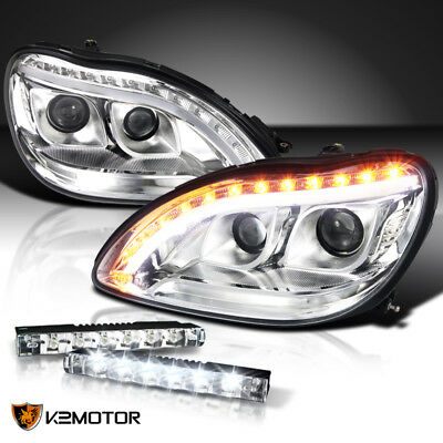 98-06 Benz W220 S-Class Chrome LED Signal Projector Headlights+6-LED Bumper DRL