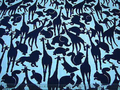 3 Yards Quilt Cotton Fabric- Michael Miller Animal Silhouettes Navy on Pale Mint
