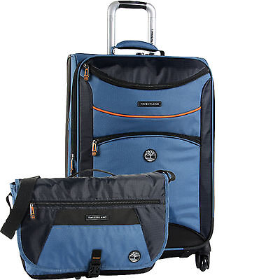 TIMBERLAND ROUTE 4 BLUE 2 PIECE SPINNER LUGGAGE SET $560 VALUE NEW