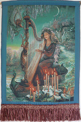 """Magical Theme Fantasy 22"""" Fringed Needlepoint Woven Painting Tapestry:magic Harp"""