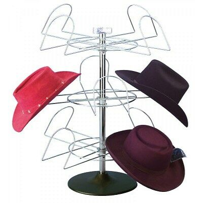 For Sale 12 Western Hat Display Rack (Chrome Finish w/ Black Plastic Base)