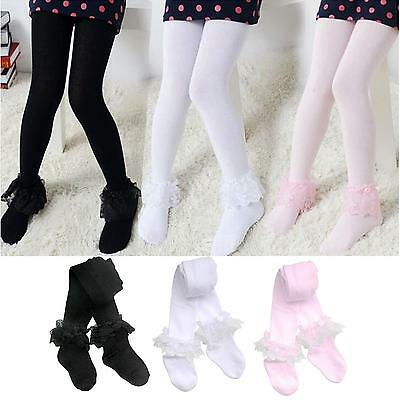 Girl Baby Kids Lace Cotton Winter Warm Pantyhose Tights Stockings Long Socks