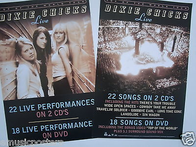 """DIXIE CHICKS """"LIVE"""" 2-SIDED U.S. PROMO ALBUM POSTER - Country, Bluegrass Music"""