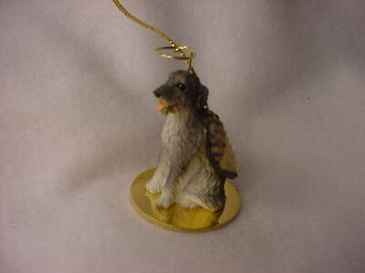 IRISH WOLFHOUND gray dog ANGEL Ornament Figurine NEW Collectible Christmas puppy