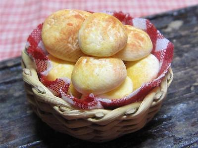 Dolls house food miniatures~Basket of bread rolls~by redclegg