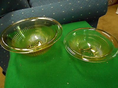 Great Collectable 2 AMBER Ribbed Nesting Bowls- Federal DEPRESSION Glass-1930's