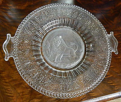 Antique Frosted Lion Pressed Glass Plate 'give Us This Day Our Daily Bread'
