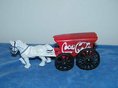 Cast Iron Toy Coca Cola Horse drawn wagon 7 in length reproduction