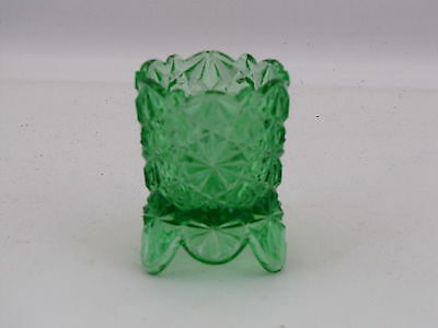 """L. G. Wright Glass Daisy & Button Footed Toothpick Holder in Green Glass, 2 3/4"""""""