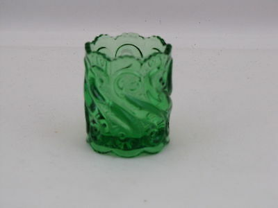 L. G. Wright Glass S Pattern Toothpick Holder in Green Glass, 2 3/8