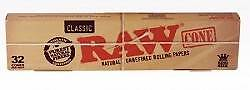 32 Pieces Raw Rolled  Paper Cones 1 1/4 Size 1 Box Raw Zig Hemp Rolling Paper