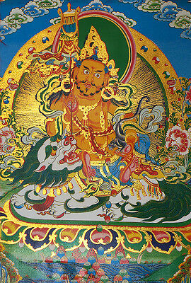 "14"" Brocaded Golden Scroll Tibetan Thangka:vaishravana Fortune God & Snow Lion ="