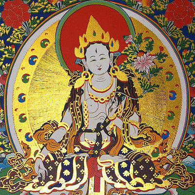 "14"" Silk Brocaded Blessed Scroll Tibetan Thangka: White Tara Grants U Lifespan ="
