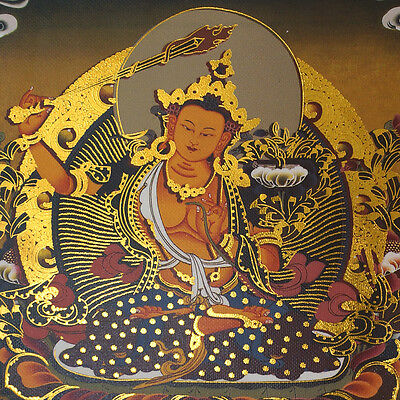 "14"" Silk Brocaded Golden Wood Scroll Tibet Thangka: Manjushri Master Of Wisdom ="