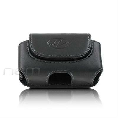 Black Horizontal Leather Clip Side Holster Case Pouch For Samsung SGH-A107 A-107
