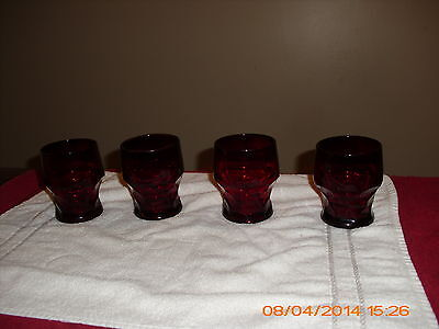 "4 VTG  GEORGIAN  RUBY RED THUMBPRINT  3  7/8"" GLASSES- VGC"