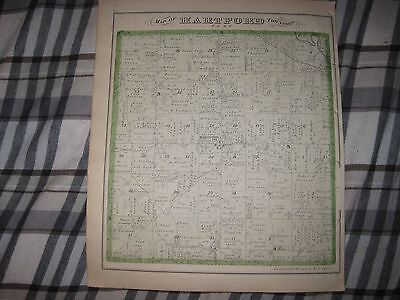 Antique 1875 Hartford Mecca Township Trumbull County Ohio Handcolored Map Printa