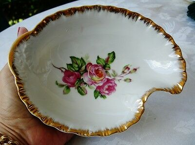 NAPCO-#1196-Japan Pink Roses-Nut/Candy Bowl-/Dish- Hand Painted-Gold Trim-MINT