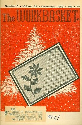 1963 The Workbasket Magazine: Crochet Poinsettia Place Mat/Tatted Butterfly