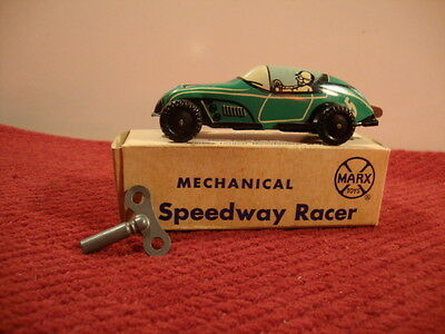 Marx Mechanical Speedway Racer Wind Up Toy Minty in Box with Key 206-X Green # 5