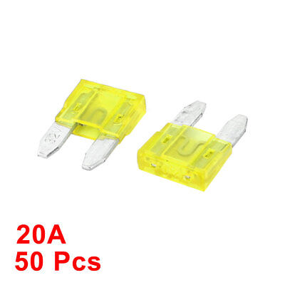 Vehicle Car Auto Plastic Housing Blade Fuses Yellow 20A 50 Pcs