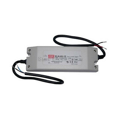 Mean Well ELN 60W 12V/24V/48V Power Supply LED Driver Water & Dust-proof IP64