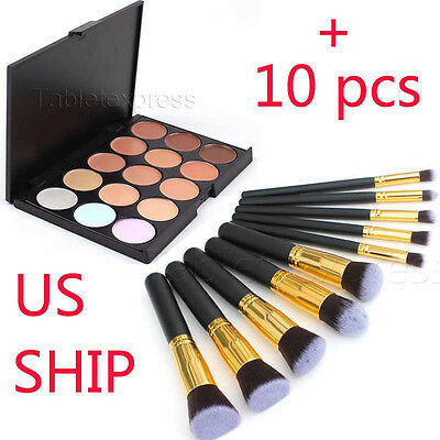 New 15 Colors Contour Face Cream Makeup Concealer Palette + 10PC Powder Brush
