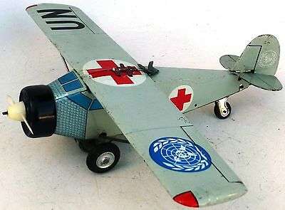 """RARE 50's HTC JAPAN TIN LITHOGRAPHED FRICTION """"UN"""" UNITED NATIONS AIRPLANE NO/R"""