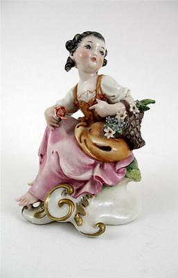 Capodimonte Figure -  Girl Seated with Basket of Flowers  - Signed Galle