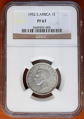 1952 South Africa Silver Shilling Proof Coin KM# 37.2 NGC PF67 Only 1,550 Minted