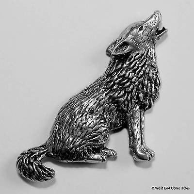 Wolf Pewter Pin Brooch - British Hand Crafted Badge - Coyote Husky Malamute Dog