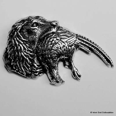 Cocker Spaniel & Pheasant Pewter Pin Brooch - British Hand Crafted - Hunting Dog