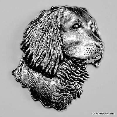Spaniel Head Pewter Pin Brooch -British Hand Crafted- Police Sniffer Hunting Dog