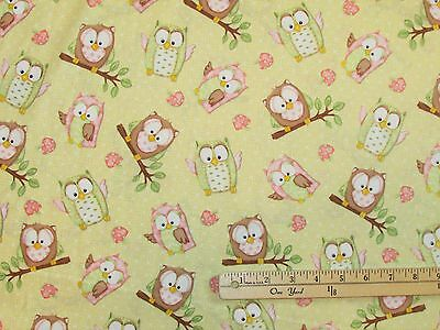 You Whoo Owl Yellow Allover Henry Glass Baby Fabric by the 1/2 Yard #6108