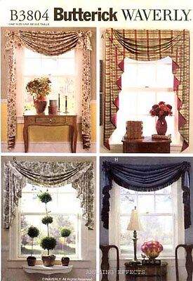 Butterick Sewing Pattern 3804 SWAGS JABOTS curtains window treatment
