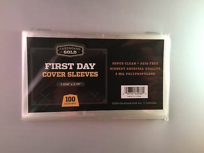 Case of 5000 Cardboard Gold First Day Cover Archival Clear Soft Poly Sleeves