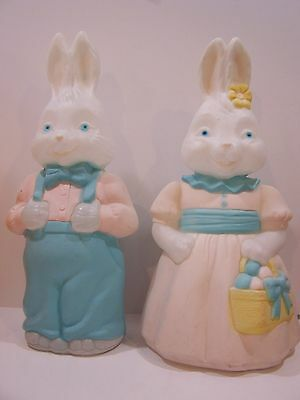 """25"""" Easter Bunny pair Rabbit Peter Cottontail Blow Mold Light Lawn Decor outdoor"""