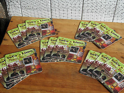 NEW SET 15 SOUTHERN COMFORT SOCO & LIME LOGO BEER COASTER MAT LEGENDARY MONUMENT