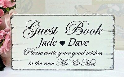 Wedding Signs Guest Book Wedding Table Sign Personalised Vintage Free Standing
