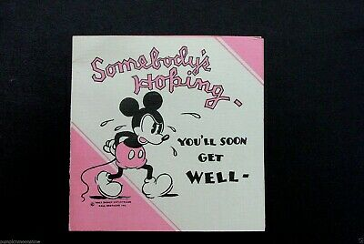 # I 719- Vintage Early 1930's  Walt Disney Get Well Greeting Card Mickey Mouse